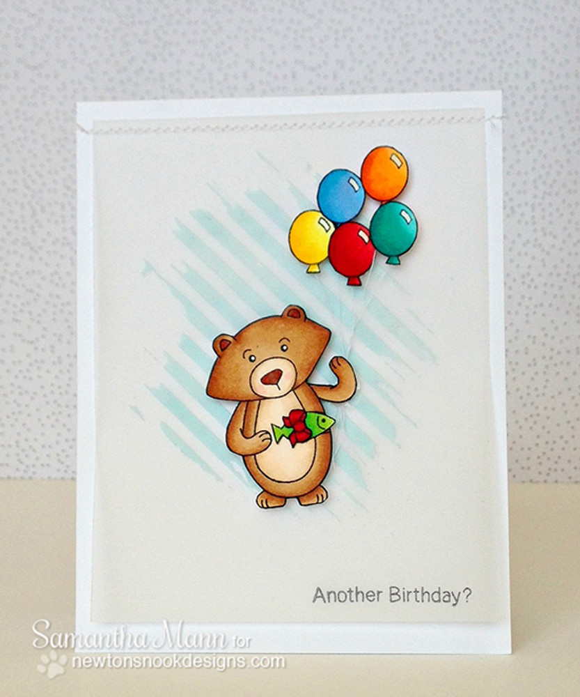 Bear with Balloons Birthday card | Wintston's Birthday Bear stamp set by Newton's Nook Designs