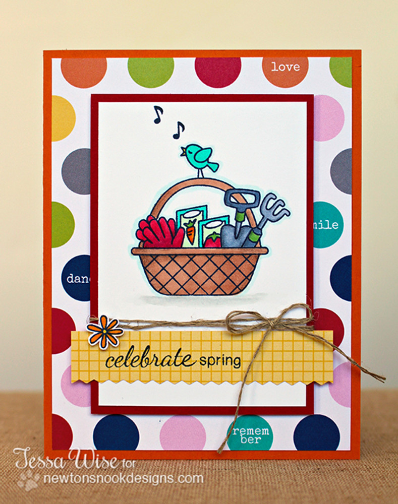Celebrate Spring Card | Basket of Wishes stamp set by Newton's Nook Designs