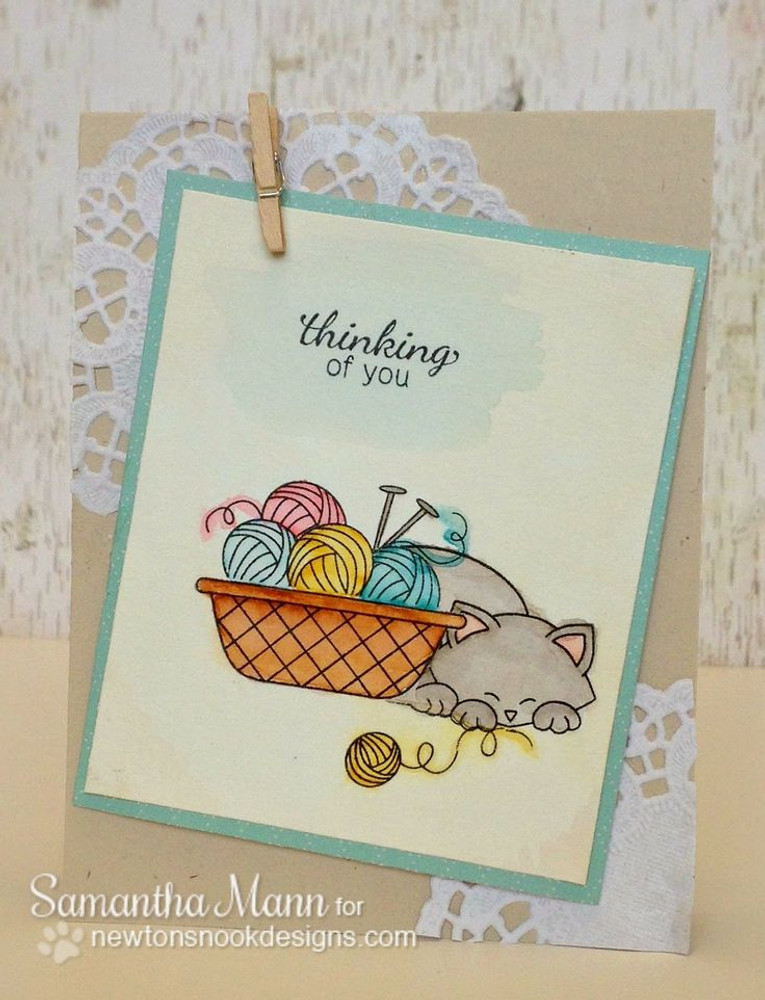 Thinking of you yarn basket card | Basket of Wishes stamp set by Newton's Nook Designs