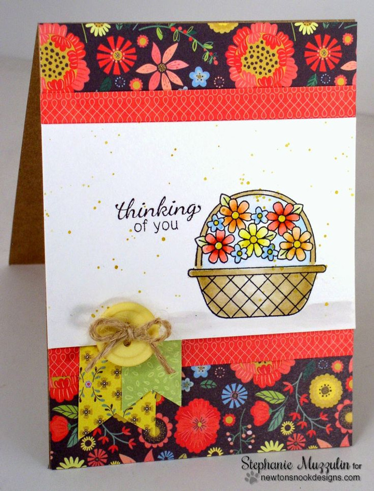 Thinking of you Flower Basket Card| Basket of Wishes stamp set by Newton's Nook Designs