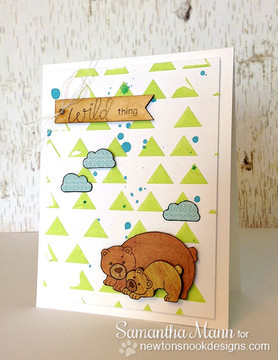 Bear and cub card Wild about you card  | Wild Child stamp set by Newton's Nook Designs