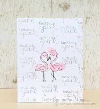 Tickled Pink Card | Flirty Flamingos | 3x4 photopolymer stamp set | Newton's Nook Designs