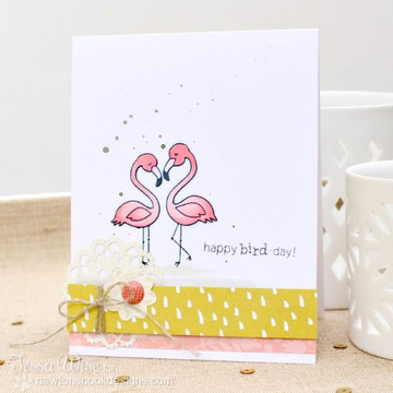 Flamingo couple Birthday card | Flirty Flamingos stamp set by Newton's Nook Designs