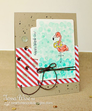 Flamingo Birthday Card | Flirty Flamingos stamp set by Newton's Nook Designs