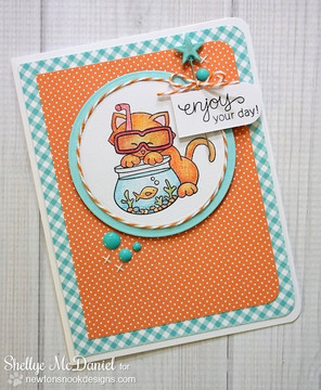 Summer Cat card made with Newton's Summer Vacation stamp set from Newton's Nook Designs | 4x6 photopolymer Stamp Set | Newton's Nook Designs
