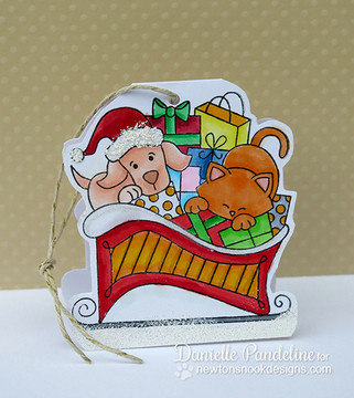 Dog and Cat Paper ornament   Christmas Delivery   3x4 photopolymer Stamp Set   Newton's Nook Designs