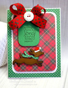 Dachshund Holiday Card | Holiday Hounds | 4x6 photopolymer Stamp Set | Newton's Nook Designs