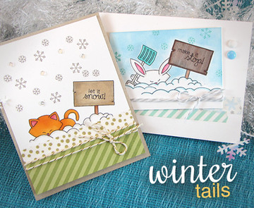 Cat and Bunny Winter Cards | Winter Tails | 4x6 photopolymer Stamp Set | Newton's Nook Designs