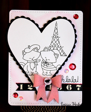 Cats in Paris Love Card | Newton Dreams of Paris | 4x6 photopolymer Stamp Set | Newton's Nook Designs