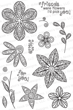 Beautiful Blossoms   4x6 Photopolymer Stamp Set   Newton's Nook Designs