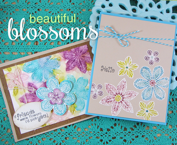 Friendship flower Cards   Beautiful Blossoms   4x6 photopolymer Stamp Set   Newton's Nook Designs