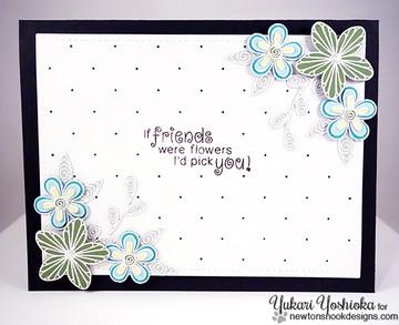 Friendship flower Card   Beautiful Blossoms   4x6 photopolymer Stamp Set   Newton's Nook Designs