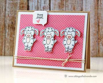 Thank you Sheep Card | Farmyard Friends | 4x6 photopolymer Stamp Set | Newton's Nook Designs