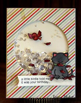 Birthday Cat and Bird Card | Newton's Birthday Flutter | 3x4 photopolymer Stamp Set | Newton's Nook Designs