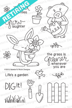 Garden Whimsy | 4x6 Photopolymer Stamp Set | Newton's Nook Designs