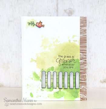 Bird and Garden Fence Friendship Card | Garden Whimsy | 4x6 photopolymer Stamp Set | Newton's Nook Designs