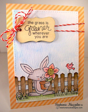 Bunny and Flowers Friendship Card | Garden Whimsy | 4x6 photopolymer Stamp Set | Newton's Nook Designs