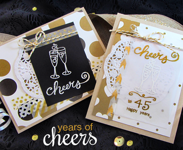 Champagne Cheers Cards   Years of Cheers   3x4 photopolymer Stamp Set   Newton's Nook Designs