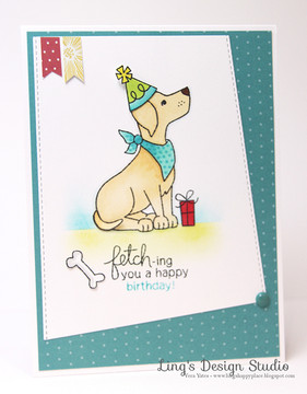 Birthday Dog Card | Fetching Friendship | 4x6 photopolymer Stamp Set | Newton's Nook Designs