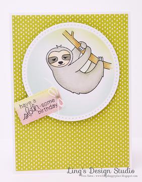 Sloth Birthday Card | In Slow Motion | 4x6 Photopolymer Stamp Set | Newton's Nook Designs