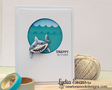 Snappy birthday card | Shark Bites Stamp Set by Newton's Nook Designs