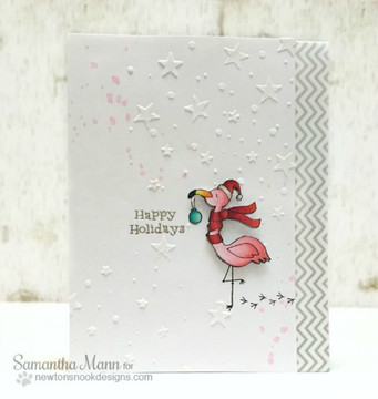 Festive Flamingos | 3x4 Photopolymer Stamp Set | Newton's Nook Designs