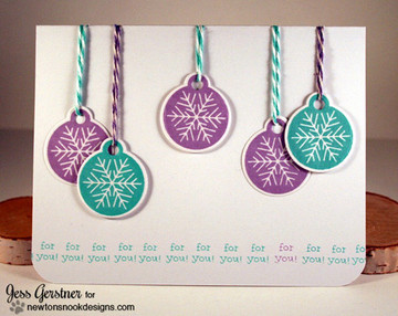 Ornament Card | Jolly Tags | 4x6 Photopolymer Stamp Set | Newton's Nook Designs