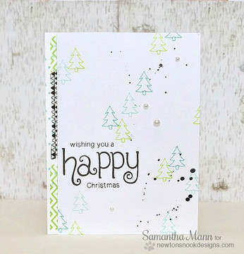 Happy Holidays Tree card | Simply Seasonal | 4x6 Photopolymer Stamp Set | Newton's Nook Designs