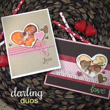 Darling Duos   4x6 Photopolymer Stamp Set   Newton's Nook Designs