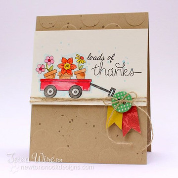 Thanks Flowers in Wagon Card   Wagon of Wishes Stamp Set by Newton's Nook Designs.