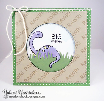 Big Wishes Dinosaur Card  | Prehistoric Pals stamp set by Newton's Nook Designs