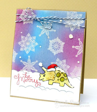 Dinosaur Christmas card using Prehistoric Pals Stamp Set by Newton's Nook Designs
