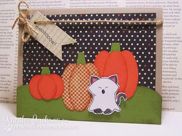 Ghost Cat Costume Halloween Card|  Boo Crew Stamp Set by Newton's Nook Designs