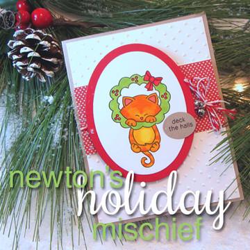 Deck the Halls Cat in Wreath Card | Newton's Holiday Mischief Stamp Set by Newton's Nook Designs