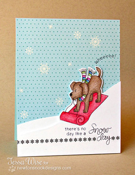 Dog on Sled Card using Snow Day Stamp Set by Newton's Nook Designs