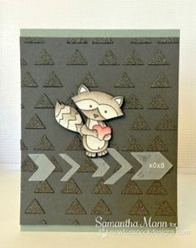 Raccoon Love card   Sweetheart Tails Stamp Set by Newton's Nook Designs