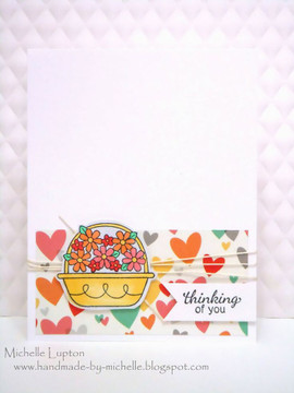 Thinking of you flower basket card | Basket of Wishes stamp set by Newton's Nook Designs