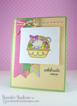 Celebrate Eater Basket Card | Basket of Wishes stamp set by Newton's Nook Designs