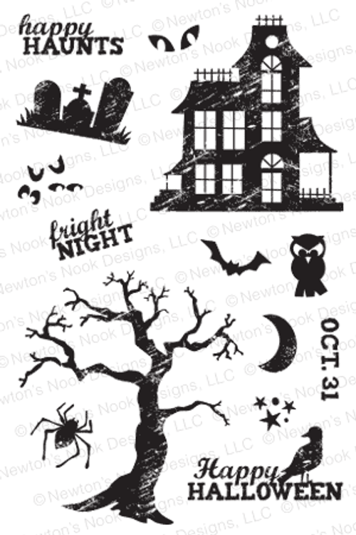 Spooky Street   4x6 photopolymer Stamp Set   Newton's Nook Designs