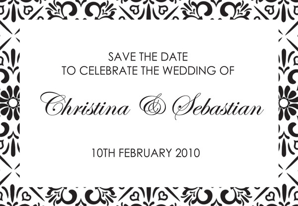 Save the Date - to match Black & White wedding invitation