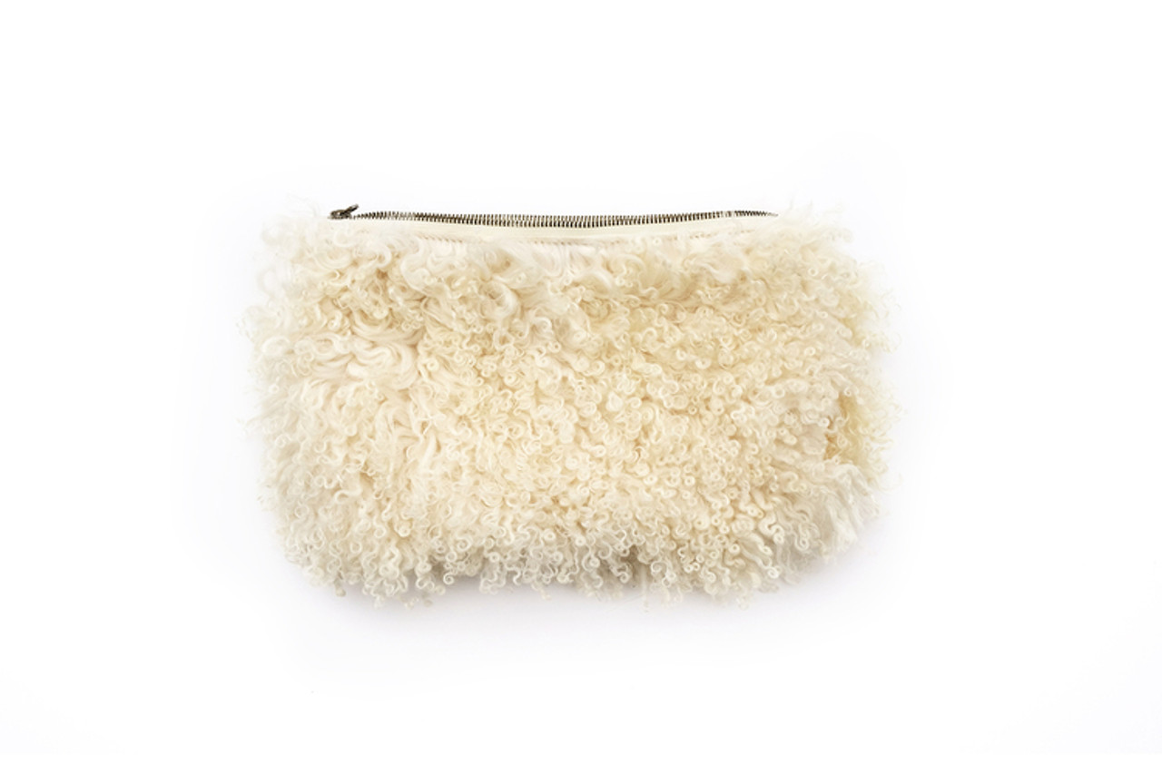 Cream Curly Sheep Clutch