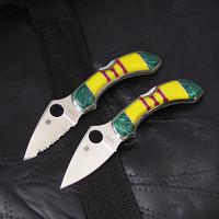 Spyderco Dragonfly C28 Custom Vietnam Service Ribbon Knife.  Plain Edge or Serrated.