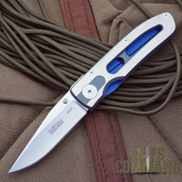 Klotzli Knives Walker 06-C Folding Knife.  Blue and Grey Titanium...what a combination!