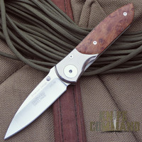 Klotzli Knives Ernest Emerson Titanium Maple Folding Knife.  Titanium and stabilized Maple.