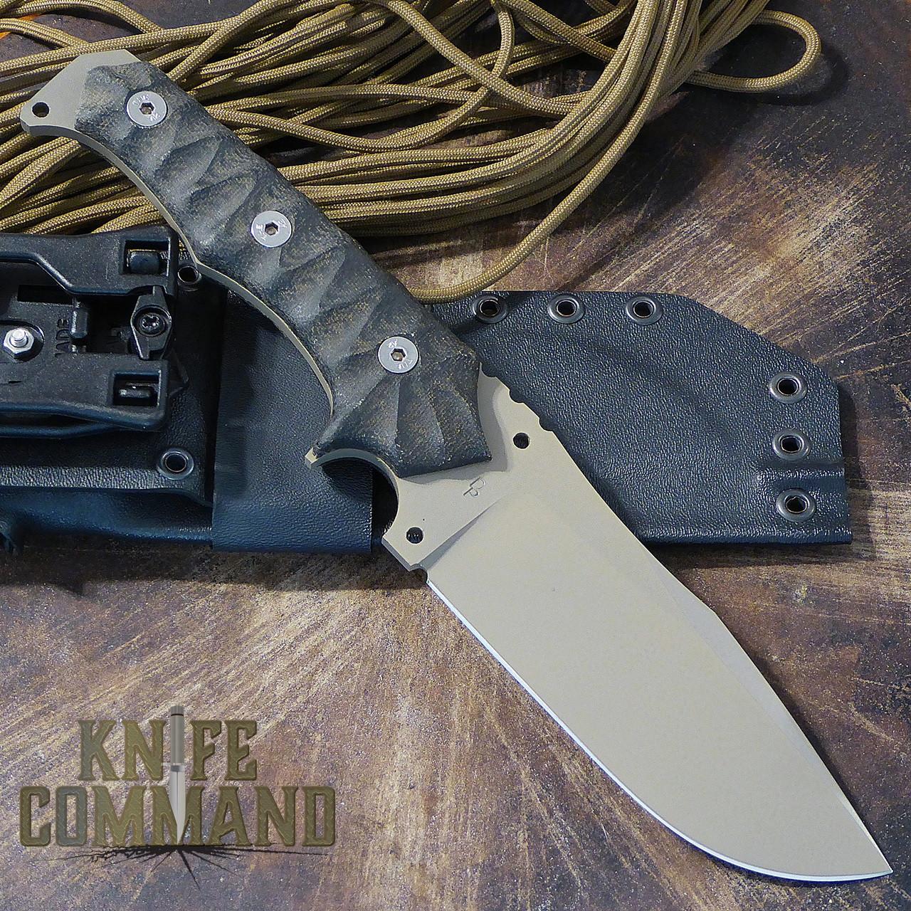 Wander Tactical Haast Eagle Survival Knife Black Micarta Dark Earth Gunkote.  Handmade in Italy.