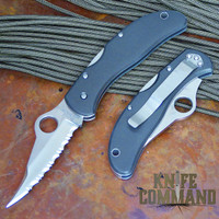 Spyderco Worker Tufram GIN-1 Serrated Edge Knife.  New old stock with minor marks on the Tufram.