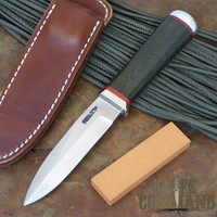 "Randall Made Knives Non-Catalog Model Gambler 4"" Green Micarta False Edge Boot Knife.   A single edged Gambler!"