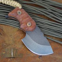Wander Tactical Tricertops Knife Cherry Brown Micarta Raw Gunkote.  Custom version direct from Italy.