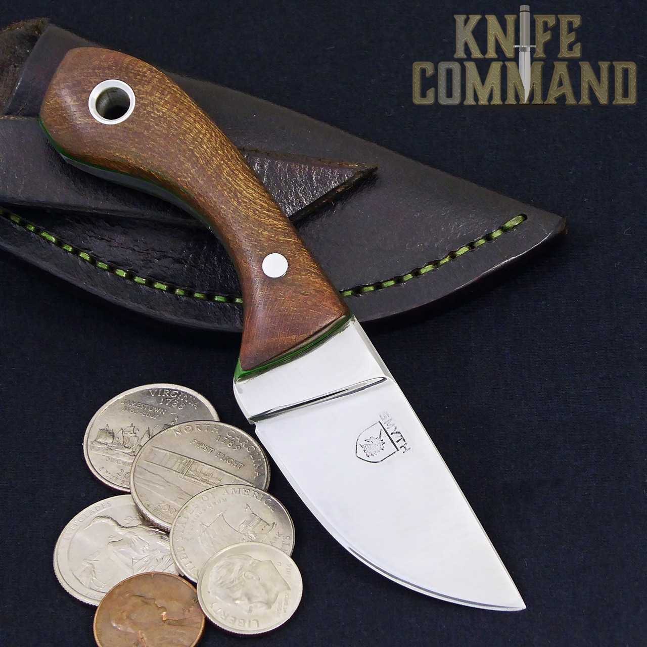 Paddy Smyth Knives Irish Elm Knife, The Leprechaun.  Coins shown for size perspective.