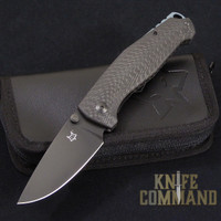 Fox Knives Vox Tur Folding Knife Carbon Fiber Black Blade.  Black PVD coated Elmax steel.